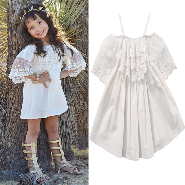 Toddler Kids Baby Big Girls Child Lace White Dress Princess Party Pageant  Holiday Cute Shoulderless Dresses 781d3f97a8bc
