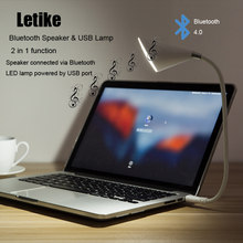 Letike Bluetooth Speaker & USB LED Light Bulb Desk Lamp Gooseneck Portable Wireless Speaker Musical Audio Loudspeaker for Laptop(China)