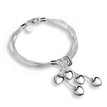 купить Charm Classic Heart Pendant Bangles Bracelet For Women Silver Plated Link Chain Cuff Jewelry Gift Free shipping дешево