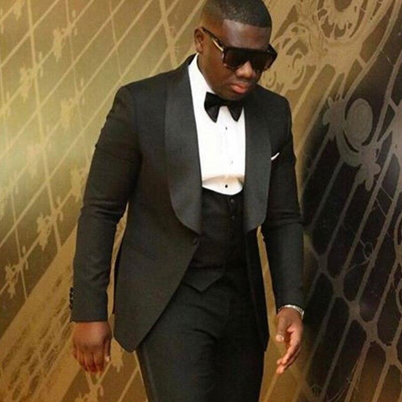 Shawl Tuxedos Wedding-Suit Groom Lapel Black Mens Best Man Jacket--Pants--Vest--Tie New-Style