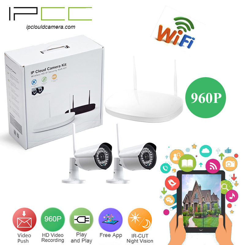 IPCC 2CH 960P CCTV System WIFI NVR KIT 2PCS  Outdoor Waterproof IR Cut Night Vision Security Camera Video Surveillance Kit