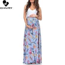 Chivry Maternity Women Pregnancy Dresses Mama Clothes O-Neck Floral Print Sleeveless Pregnant Summer Maxi Dress