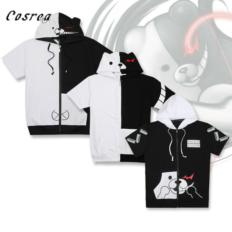 New Anime Danganronpa:Trigger Happy Havoc Cute Hoody Cotton Casual Short Sleeve Hoodies Cosplay Costumes for Adults Man Women