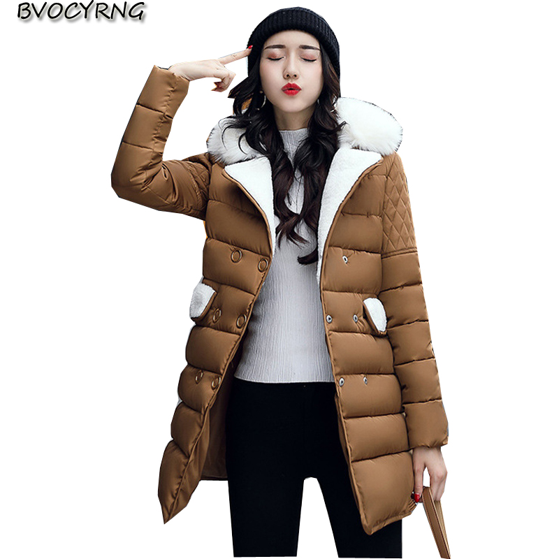 2017New Winter Big Yards Women Coat Fashion Medium Long Warm Jacket Parka Collars High Quality Cotton Elegant Slim Coat Q572 xiaying smile summer woman sandals fashion women pumps square cover heel buckle strap fashion casual concise student women shoes