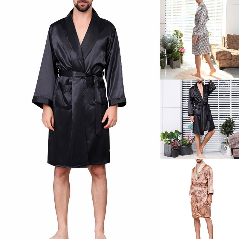 Oeak Sleepwear Bathrobe Silk-Robe Sexy V-Neck Section Hombre Men's Ropa Long-Sleeved