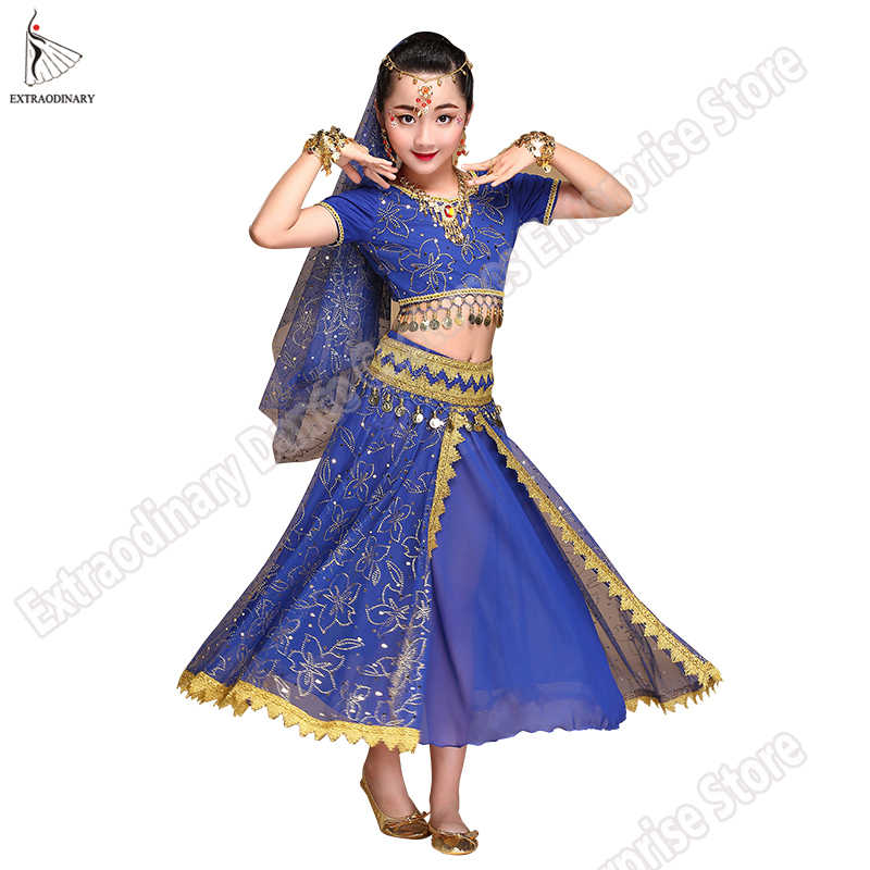 5428955f3a12 ... Belly Dance Costume Children Bollywood Dance Costumes Set Indian  Bollywood Kids Dresses 5pcs (Headpieces Veil ...