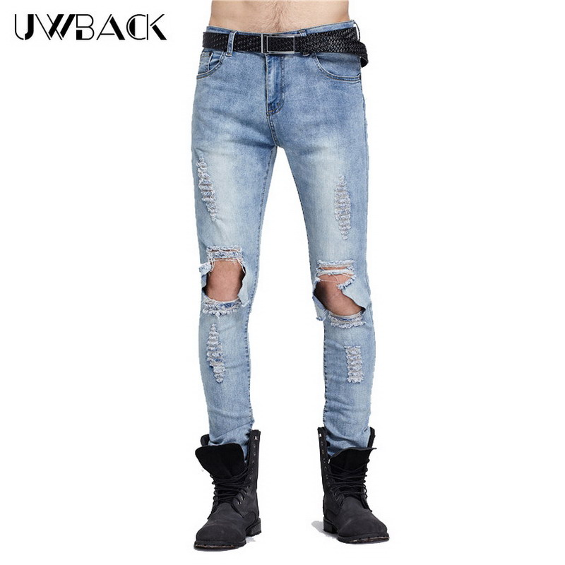 uwback 2017 brand ripped ripped jeans men hip hop. Black Bedroom Furniture Sets. Home Design Ideas