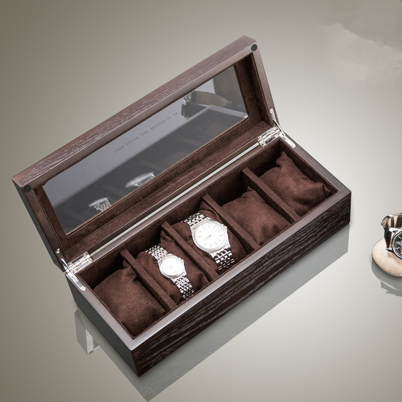 Top 5 Slots Wood Watch Storage Boxes Case With Window Pewter Veneer Mechanical Watch Organizer Jewelry