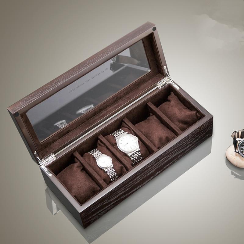 Top 5 miejsc na drewno zegarek pudełka do przechowywania przypadku z oknem ze stopu cyny z ołowiem fornir zegarek organizator biżuteria prezent uchwyt skrzynki w Pudełka do zegarków od Zegarki na  Grupa 1