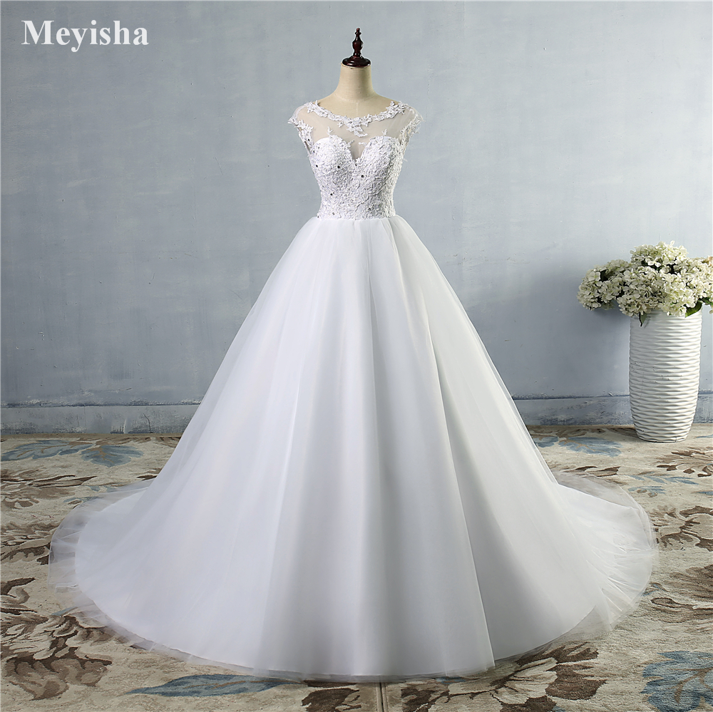 ZJ9073 2019 new style fashion lace White Ivory Wedding Dresses for brides beads crystal plus size