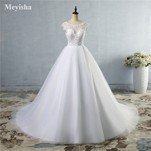 ZJ9073 2020 new style fashion lace White Ivory Wedding Dresses for brides beads crystal plus size maxi formal customer made 2-26