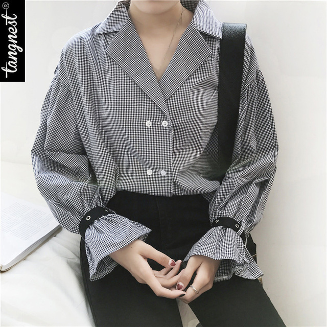 TANGNEST Women Shirt 2017 Fashion Spring Blouse Ruffles Butterfly Sleeve Plaid Turn Down Collar WCL1391
