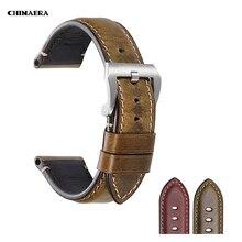 CHIMAERA accesorios para reloj, correa de 22mm y 24mm, correa de cuero de vaca Vintage para reloj fósil