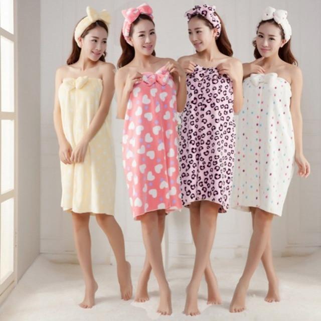b7296656d4 Women Soft Absorbent Bathrobe Towels Bathrobe Body Spa Bath Bow Wrap Towel  Shower Headband+Bath