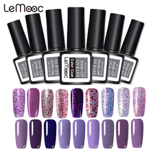 Lemooc 8ml Purple Color Series Gel Varnish Long Lasting Nail Gel Polish Cured with UV LED Lamp Nail Art Polishes Gel Lacquer cured