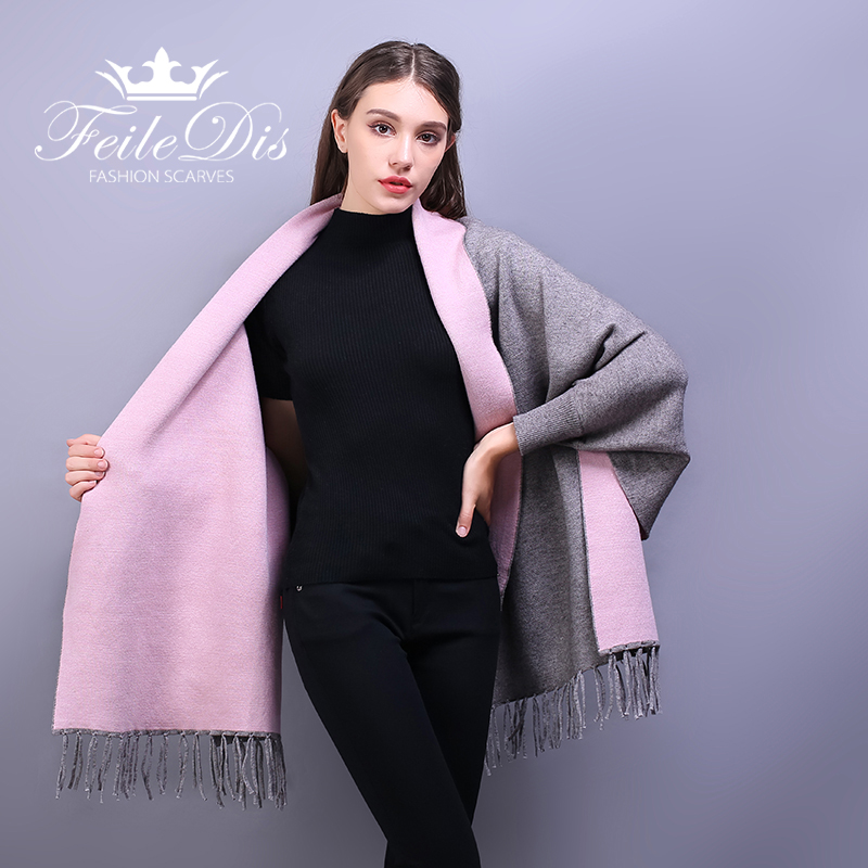 FEILEDIS 2019 autumn and winter ladies double sided shawl scarf thick long section with a