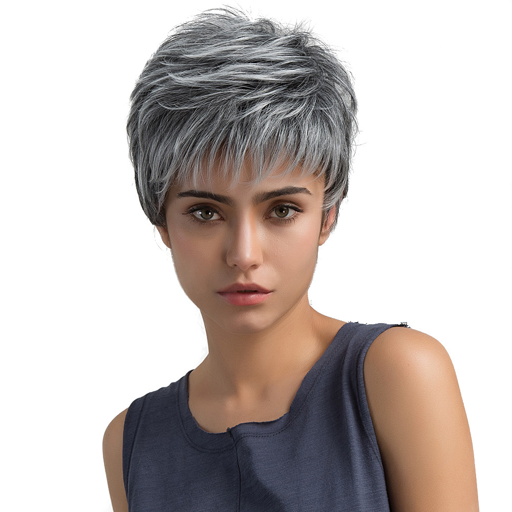 Wig Head Stands Fashion Natural Light Gray Straight Short Hair Wigs Short Women's Fashion Wig New Wire fiber Dropshipping July12 bowl short full bang straight capless real natural hair wig