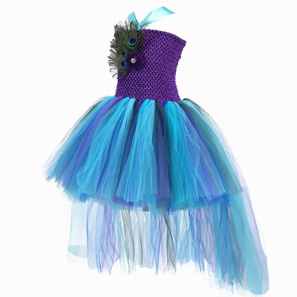 Princesse de Paon Parti Tutu Fuite Robe Pour Filles Main De Plume De Paon Filles robe de Bal Robes Pour accessoires Photo D'anniversaire