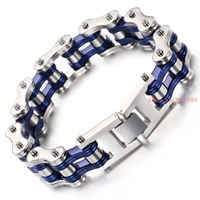 High Quatity Women Men's Bike Chain Bracelet Silver Blue Stainless Steel Link Bicycle Bike Chain Bracelets Jewelry 22cm