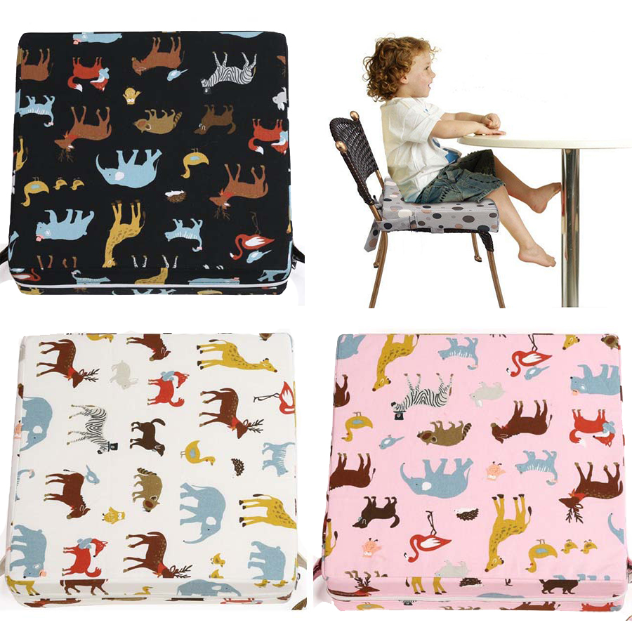 Baby Booster Seat Cushion Cotto 8CM Cartoon Animals Chair Heighten Pad Anti-slip Removable Washable Children Dining Chair Pad