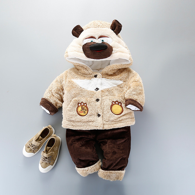 Winter Cartoon Bears Smart Cashmere Infant Male Parkas Suits Cute Baby Boys Two Pieces Travel Clothing Sets