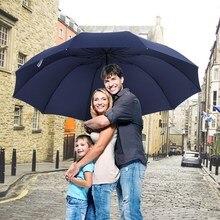152 CM Top chất lượng Dù Người Đàn Ông Mưa Người Phụ Nữ Windproof Lớn Paraguas Phụ Nữ Sun 3 floding Gia Đình Lớn Ô Dù Ngoài Trời Parapluie