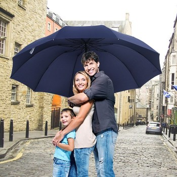 152CM Top-quality Umbrella Men Rain Woman Windproof Large Paraguas Women Sun 3 floding Big Family Umbrella Outdoor Parapluie
