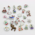 Christmas Floating Charms Mix Designs Charms For Living Glass Floating Locket 100pcs
