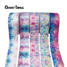 AHB 3 75mm Grosgrian Ribbon Bronzing Laser Dots Gradient Color DIY Hairbows Accessories Materials Wedding Gift Wrapping 2Yards