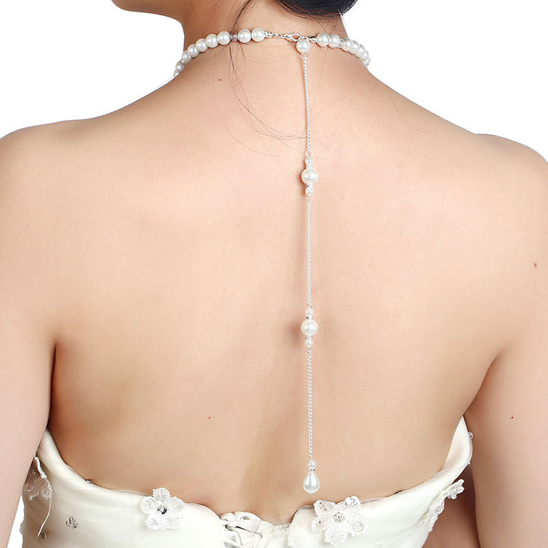 Newest bridal jewelry back drop chain back chain for bride wedding back body chain