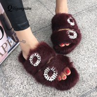 Spring Women Furry Slippers Fashion Rabbit Hair Fur Slides Flat Slipper Sweet Home Slippers Woman Indoor Shoes Cute Furry Shoes