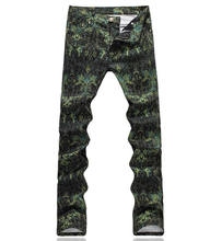Hot sale Vintage Green Print Men Jeans Classic Skinny Trousers