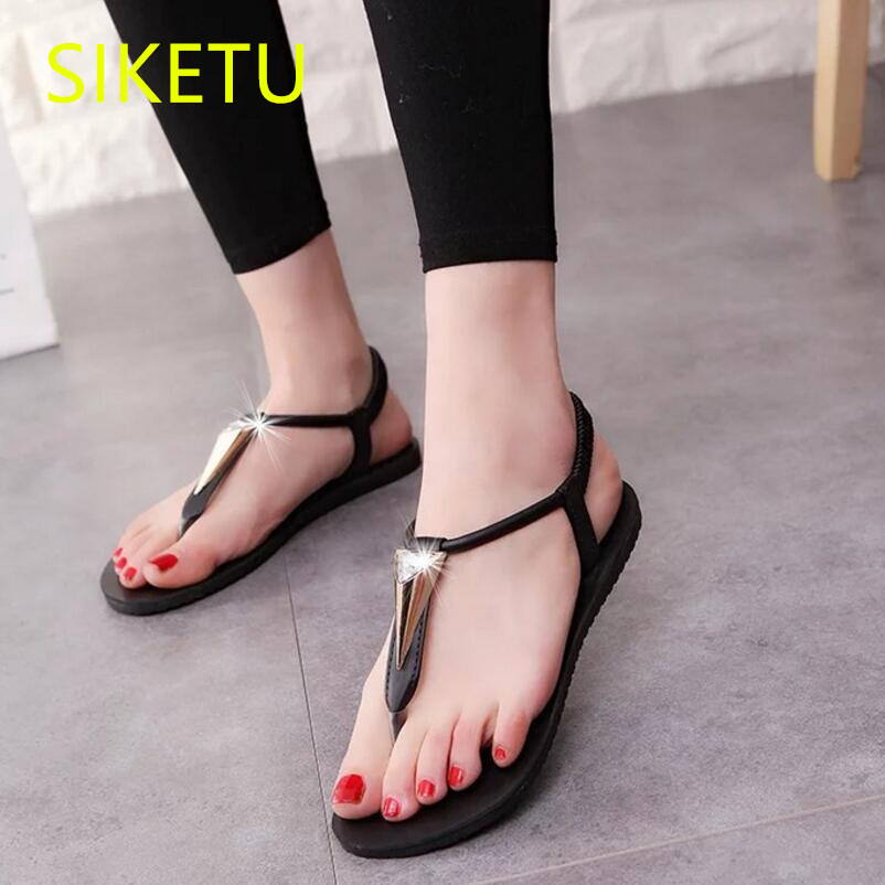 SIKETU Free shipping Summer sandals Fashion casual shoes sex women shoes flip flop Flat shoes Flats l050 NEW Casual Beach Wild new casual women sandals shoes summer fashion slip on female sandals bohemian wild ladies flat shoes beach women footwear bt537
