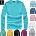2016 новый высокое качество бренды нью-весна осень мужская v-образным вырезом кашемировый свитер перемычки вязаный свитер, Пуловер мужчины марка 549