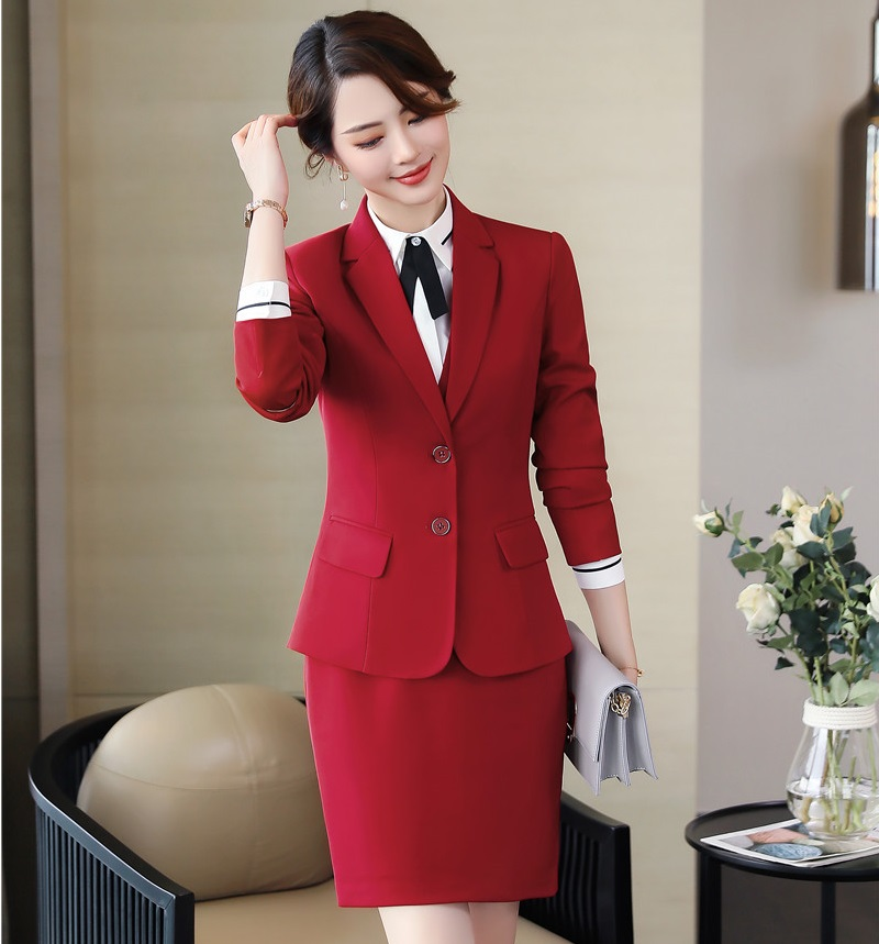Novelty Red Ladies Business Suits With Tops And Skirt Women Blazers & Jackets Sets Professional Uniform Designs Styles