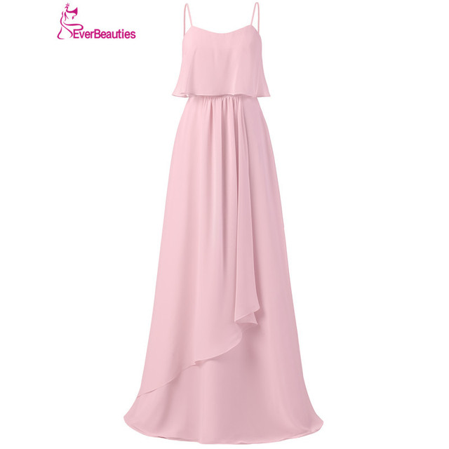 Light Pink Bridesmaid Dresses Long 2019 Chiffon Pleat Floor-Length Vestido Madrinha with Straps Robe Demoiselle D'Honneur