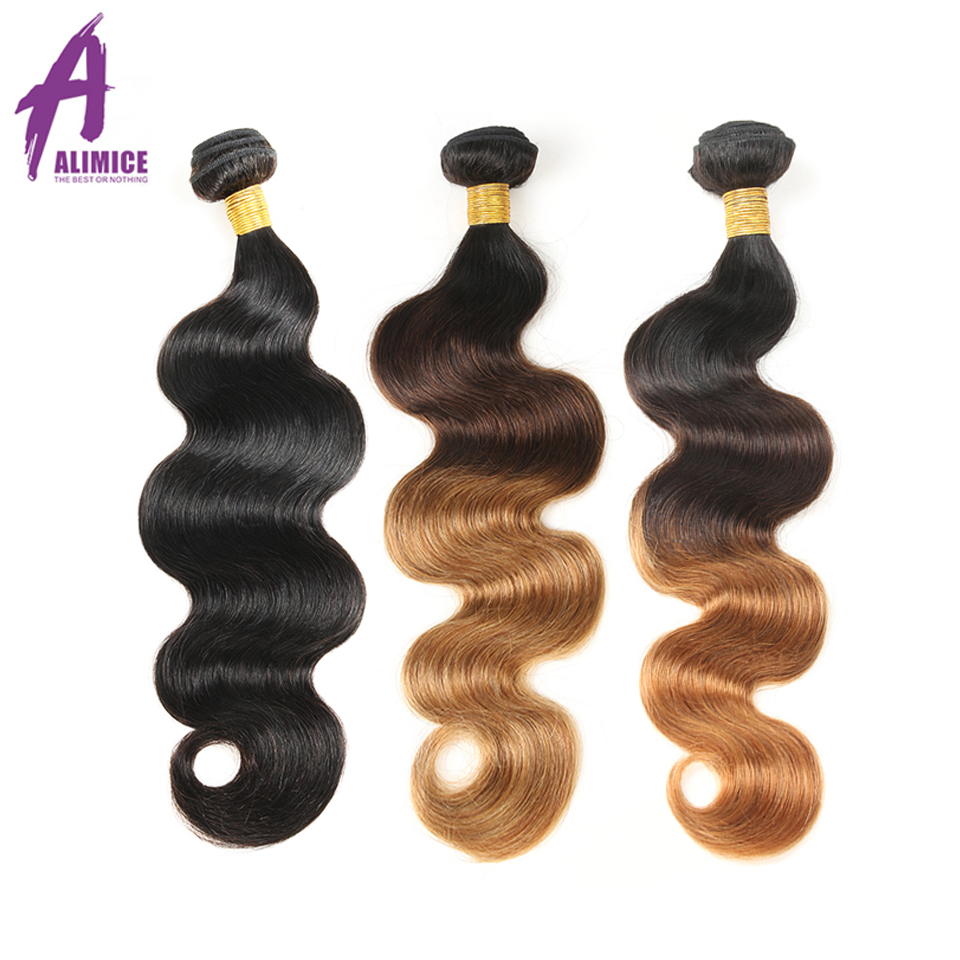 Alimice Hair Malaysian Body Wave Ombre Bundles Hair Bundles Human Hair Extensions #1b/4/27/30 Color Hair Weave Bundles Remy