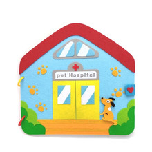 лучшая цена DIY Crafts For Kids Pet Hospital Picture Book Montessori Kid's Early Education Book Mom Sewing Quiet Book Baby Toy Felt Kit Gift