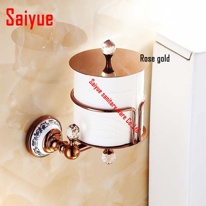 2016 New Arrival Metal Brass Diamond Toilet Paper Towel Box Rose Gold Plated Rack Holder Of Bathroom Hardware Accessories metal ring holder for smartphones rose gold