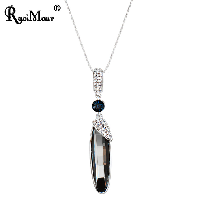 Ravimour punk long water drop necklaces pendants gray crystal ravimour punk long water drop necklaces pendants gray crystal chokers female jewelry silver color chain mozeypictures Choice Image