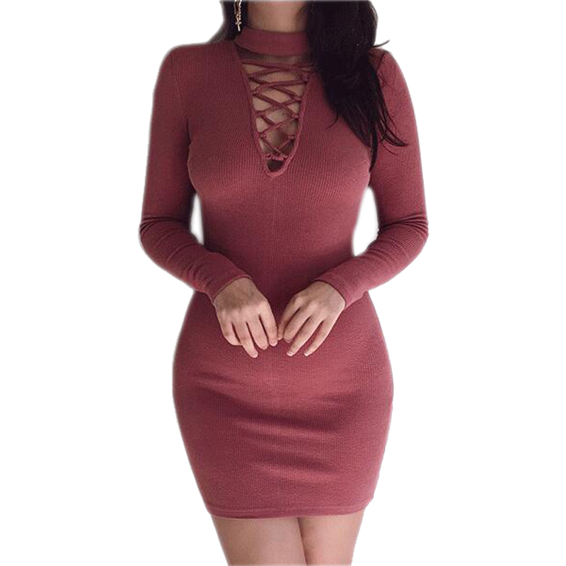 130f38f2cb3d 2018 Autumn Winter Women Mini Dresses Sexy Stretch Zipper Bodycon Dress Sexy  Long Sleeve V neck Knit Dress Party Mujer-in Dresses from Women's Clothing  on ...