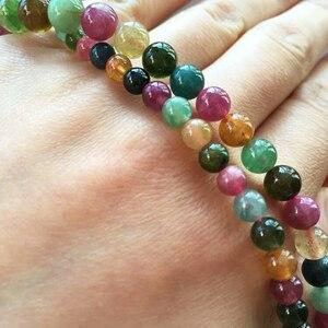 Image 4 - JoursNeige collar de piedra de turmalina Natural, cadena de cuentas redondas, collar de cristal de la torre, regalo de la suerte para mujeres y niñas, joyería Popular