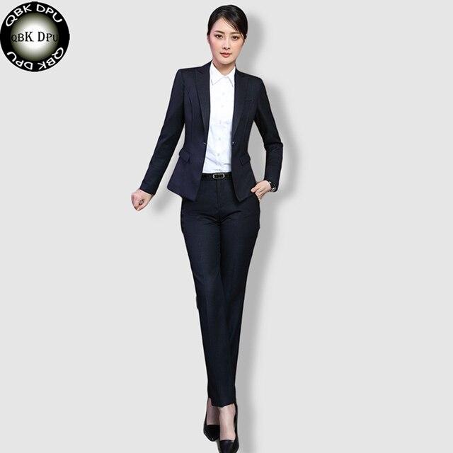 ff6acd0ebd73 QBK DPU marchi di abbigliamento di affari sottile ufficio OL nero blazer  donne vestiti 2017 ufficio