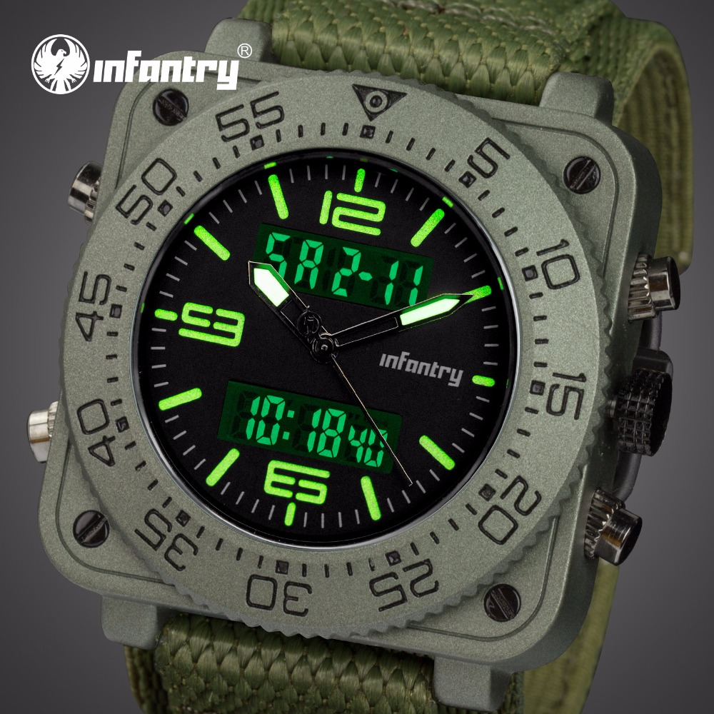 INFANTRY Mens Quartz Watches Relojes Hombre Durable Nylon Strap Wristwatch Luminous Square Face Aviator Sports Watches Men Clock