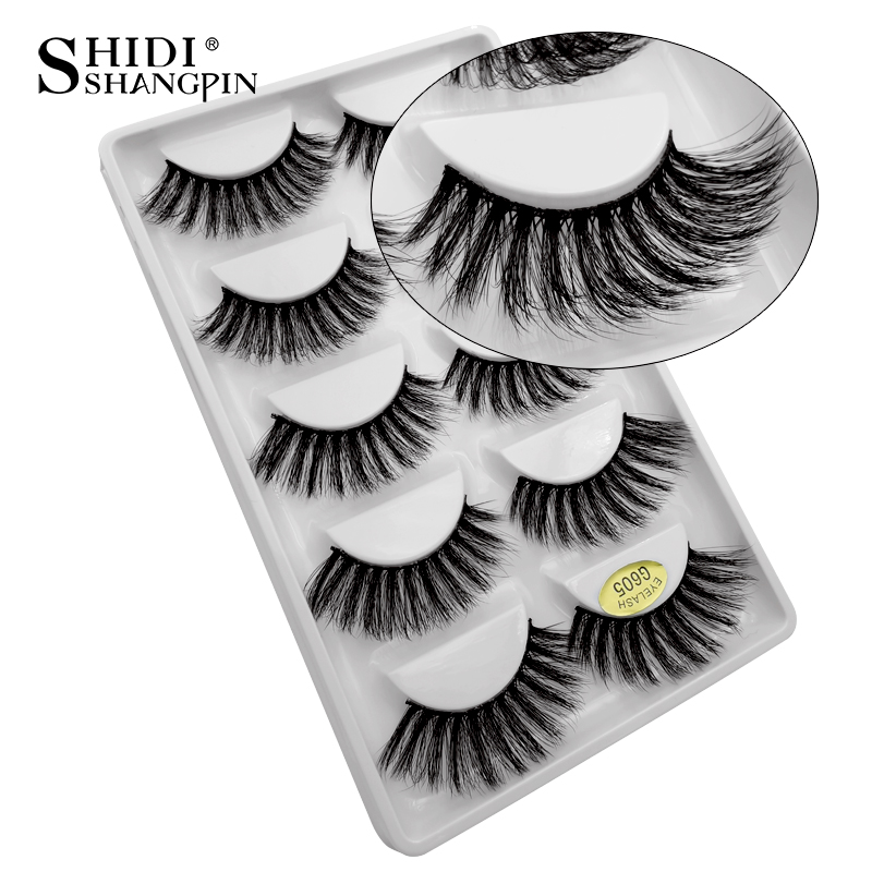 SHIDISHANGPIN 5 Pairs Mink Eyelashes Natural False Eyelashes 3d Mink Lashes Makeup Lashes Fake Eyelashes Maquiagem Faux Cils