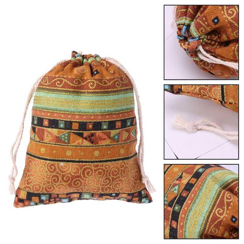 Cordão de Algodão Malote Da Jóia Sacos Do Presente Favores Do Casamento de Linho Egípcio Estilo com cordões para Contas Aromaterapia