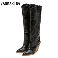 VANKARING brand microfiber leather women knee high boots sexy pointed toe western cowboy boots women mid calf chunky wedge boots
