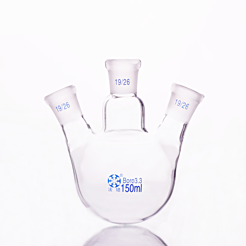 Three-necked flask oblique shape,with three necks standard grinding mouth,Capacity 150ml,Middle joint 19/26,lateral joint 19/26 three 100ml
