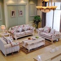 European Style Sofa Korean Garden Sofa Mediterranean Large Sized Apartment Furniture Simple Carved Wood Sofa Combination