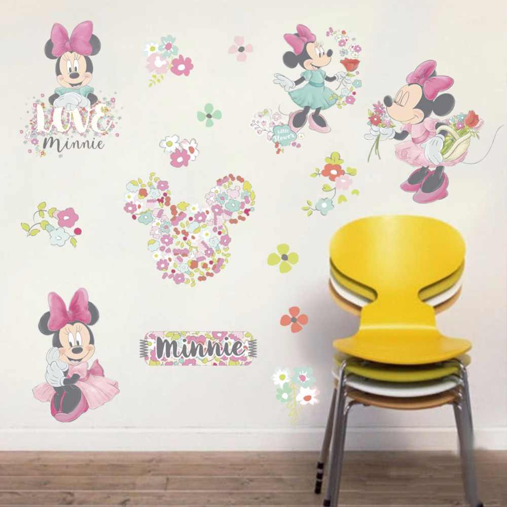 3D  Cartoon lovely  Minnie  for  kindergart Children kid's  room The stairs The living room Decorative Wall stickers